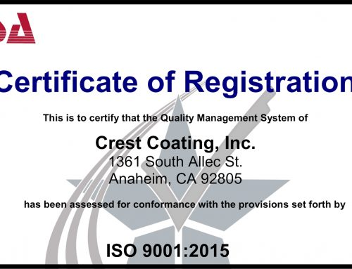 Crest Coating Earns ISO 9001:2015 Certification
